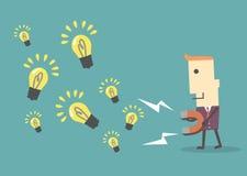 Бизнесмен с магнитом собирая электрическую лампочку, eps10 вектор fi Стоковые Изображения