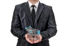 Бизнесмен с малой тележкой Стоковая Фотография RF