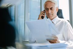 Бизнесмен с документом и говорить на телефоне Стоковые Фотографии RF