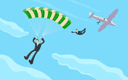 Бизнесмен с парашютом Стоковые Фотографии RF