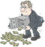 Бизнесмен с пачками денег Стоковые Изображения RF