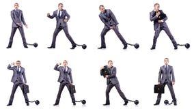 Бизнесмен с сережками на белизне Стоковое Фото