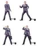 Бизнесмен с сережками на белизне Стоковые Фото