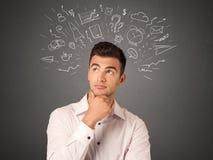 Бизнесмен с социальными значками Стоковое Фото