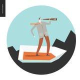 Бизнесмен с телескопом в шлюпке Стоковое Изображение RF