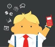 Бизнесмен с телефоном трудолюбивым и занятым Стоковое Изображение RF