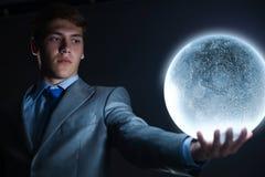 Бизнесмен с луной Стоковые Фотографии RF