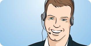 Бизнесмен с усмехаться шлемофона бесплатная иллюстрация