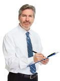 Бизнесмен с clipboard Стоковые Изображения