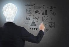 Бизнесмен с lighbulb в головном чертеже положения и руки Стоковые Фото
