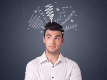 Бизнесмен с scribbles Стоковые Изображения