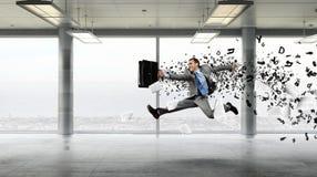 Бизнесмен танцев в офисе Мультимедиа Стоковые Изображения