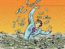 Бизнесмен тонуть в деньгах иллюстрация вектора
