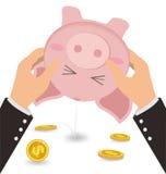 Бизнесмен тряся монетку денег из милой копилки, дела Стоковое Фото
