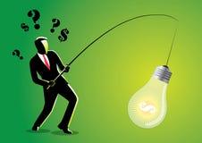 Бизнесмен удя электрическую лампочку Стоковые Изображения RF
