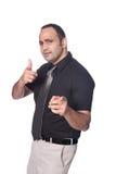 бизнесмен указывая к телезрителю стоковое фото rf