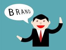 Бизнесмен думая о бренде компании Стоковые Фотографии RF