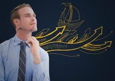 Бизнесмен думая против желтых doodle шлюпки и предпосылки военно-морского флота Стоковая Фотография