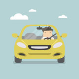 Бизнесмен управляя желтым автомобилем на дороге иллюстрация вектора