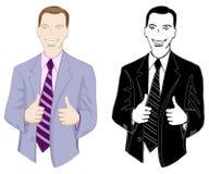 Бизнесмен, усмехаться, показывая большие пальцы руки вверх Стоковая Фотография RF