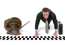 бизнесмен участвуя в гонке улитка Стоковые Изображения
