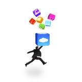 Бизнесмен ударяя коробку облака осветил значки app изолированные дальше Стоковые Изображения RF