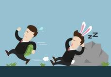 Бизнесмен черепахи бежит и кролик одно спит в идущей конкуренции Стоковые Изображения