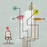 Бизнесмен шаржа выбирая направление бесплатная иллюстрация