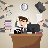 Бизнесмен шаржа занятый на рабочем временени Стоковые Фотографии RF