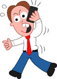 Бизнесмен шаржа идя и сердитый на телефоне Стоковые Фото
