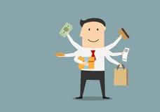 Бизнесмен шаржа счастливый после ходить по магазинам иллюстрация штока