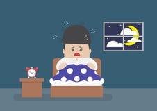 Бизнесмен широко бодрствующ в середине ночи иллюстрация вектора