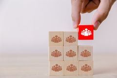 Бизнесмен штабелируя деревянные блоки команды на таблице для концепции управления команды или планирования человеческих ресурсов стоковое фото