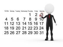 бизнесмен 3d с многодельным календаром Стоковая Фотография