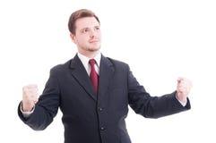 Бизнесмен, accountat или финансовый менеджер действуя как победитель стоковые изображения rf