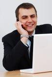 бизнесмен c имея телефон Стоковое фото RF