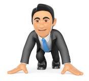 бизнесмен 3D готовый в начале гонки Стоковые Фотографии RF