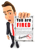 бизнесмен 3d держа извещение о отставки бесплатная иллюстрация