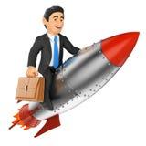 бизнесмен 3D ехать ракета бесплатная иллюстрация