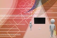 бизнесмен 3d около черной иллюстрации доски Стоковая Фотография RF
