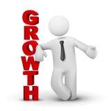 бизнесмен 3d представляя концепцию роста слова Стоковые Изображения RF