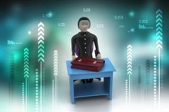 бизнесмен 3d с портфелем в офисе Стоковое Фото