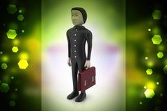 бизнесмен 3d с портфелем Стоковое Фото
