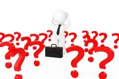 бизнесмен 3d усиленный в центре много вопросительных знаков 3d ren Стоковое Изображение RF