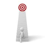 бизнесмен 3d шагая до его успешной цели na górze лестниц Стоковые Фото