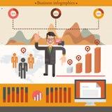 Бизнесмен infographic с бизнесменом шаржа Стоковые Фото