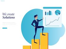 Бизнесмен infographics отчета на доске диаграммы офиса иллюстрация вектора