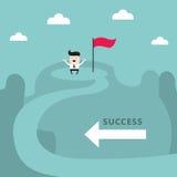 Бизнесмен na górze концепции дела достижения цели успеха горы Стоковые Фотографии RF