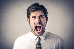 Бизнесмен screaming вне громко Стоковое фото RF