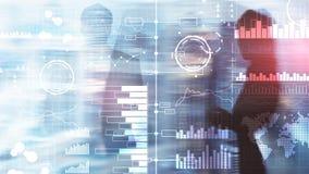 Бизнес-аналитика Диаграмма, диаграмма, торговля акциями, приборная панель вклада, прозрачная запачканная предпосылка стоковое фото